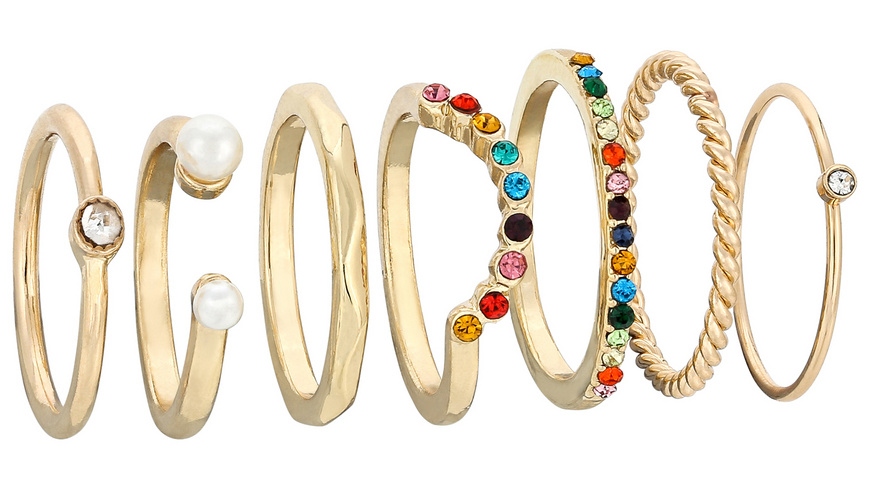Ring-Set - Rainbow Pearls