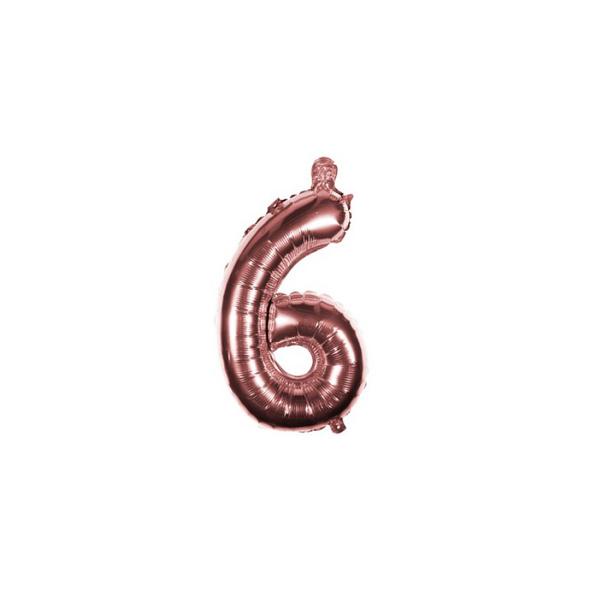Folienballon Zahl 6 Ziffer Sechs rosé-gold 35cm