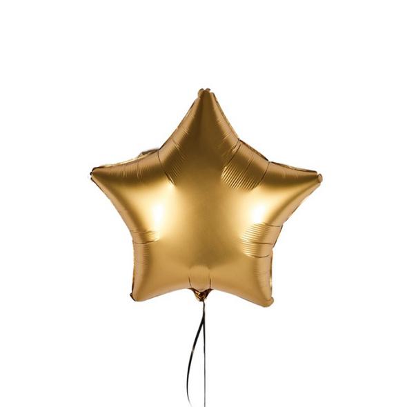 Luxuriöser Folienballon in Sternform Farbe Gold satin in der Größe 43 cm