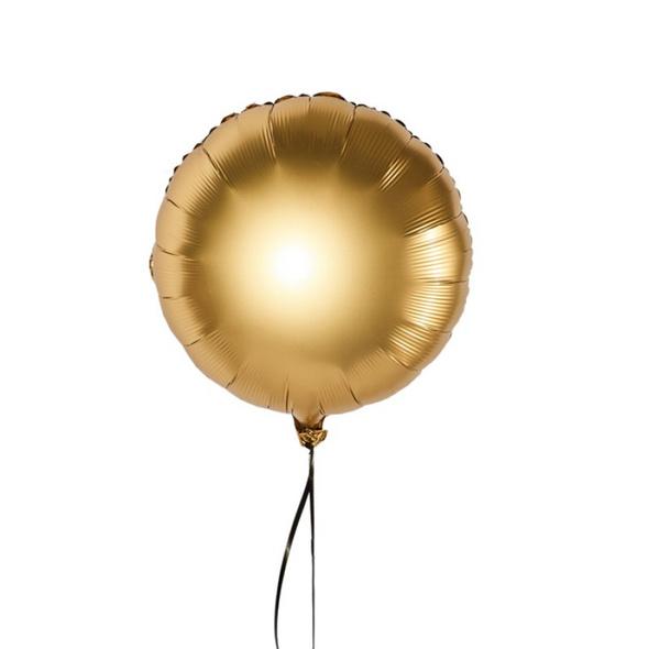 Luxuriöser runder Folienballon Farbe Gold satin, in der Größe 43 cm