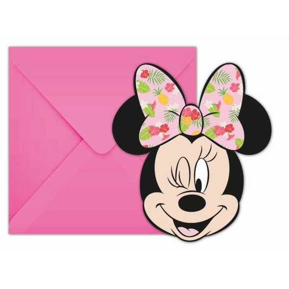 Minnie Tropical Disney 6 Die-Cut Invitations & Envelopes