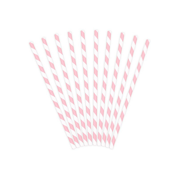 Paper Straws, light pink, 19.5cm (1 pkt / 10 pc.)