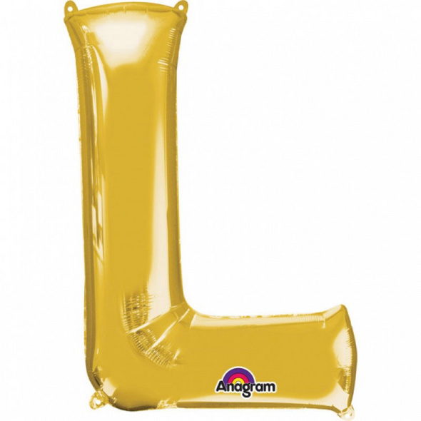 SuperShape Buchstabe L Gold Folienballon L34 verpackt 58cm x 81cm