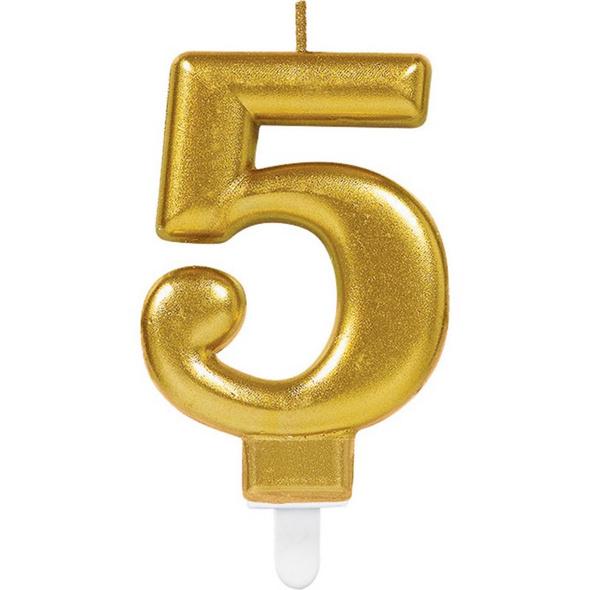 Zahlenkerze 5 Sparkling Celebrations Gold Hoehe 9,3 cm