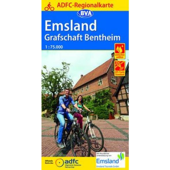 ADFC-Regionalkarte Emsland Grafschaft Bentheim mit Tagestouren-Vorschlägen 1:75.000