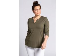 Ulla Popken Shirt, Tunika-Ausschnitt, Classic, 3/4-Arm, selection - Große Größen