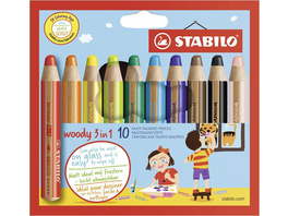 STABILO Buntstifte woody 3 in 1, 10er Set
